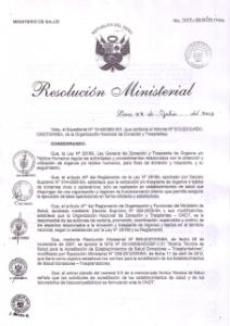 Resolución de Trasplante de Pulmón Nº 405-2013/MINSA